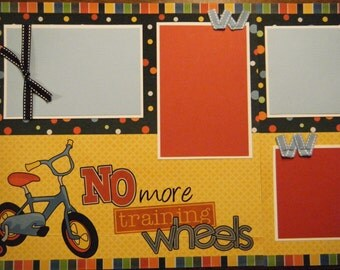 TWO No More Training Wheels Premade 12x12 Scrapbook Pages for Boy or Girl Bicycle