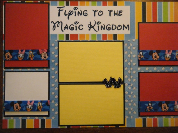 Flying to the Magic Kingdom Premade 12x12 Scrapbook Pages DISNEY WORLD LAND Great fun