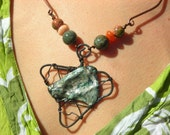 Tribal copper necklace wire wrapped jewelry handmade old world mixed media polymer clay forged hammered  agate Africa onyx snake skin stone