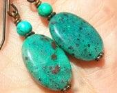 Cuprite earrings, natural gemstones earrings, gemstone jewelry, rustic earrings, blue green earrings women, turquoise earrings, stone beaded