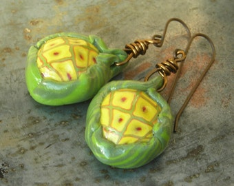 Seed pod earrings Wrapped seeds handmade polymer clay organic nature inspired beads yellow and green on solid oxidized brass earrings