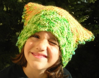 Cat Hat Children toddler hand knitted nature lime apple green orange yellow hat soft warm yarn fluffy handknit acrylic washable teens