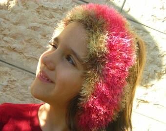 Red fur collar cowl or headband Scarflette hand knitted red neck cozy textile fiber necklace fluffy handknit luxury yarn Soft eyelash