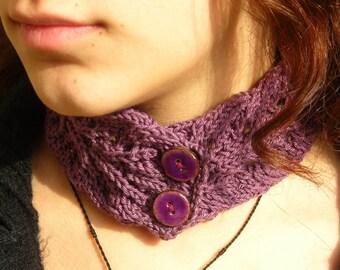 Women's knit collar Victorian Lace Hand Knitted Choker gothic steampunk renaissance necktie lavender purple pure cotton scarflette neck cozy
