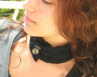 Black Victorian Lace Neck corset Hand Knitted Choker Collar gothic steampunk renaissance necktie in cotton metal buttons, leaf, scarflette