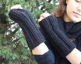 Black fingerless gloves for women men knit thick bulky chunky warm winter simple mittens acrylic machine washable yarn ribbed gift woman man