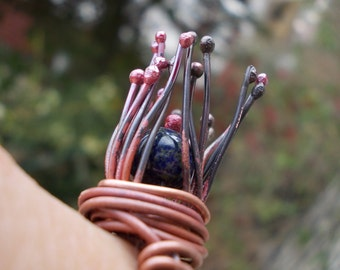 Lapis Lazuli gemstone ring copper wirewrapped nest rose patina forged rustic cold connect metal art primitive Nature Inspired engagement