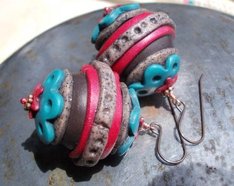 Ethnic very large earrings, colorful polymer clay bead earrings, copper and brass, colorful turquoise blue, red, huge circus bead earrings