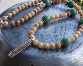 Feather necklace, feldspath, green prase jasper, natural gemstones, Karen Hill Tribe fine silver, ethnic, tribal, necklace for men women