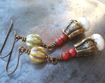 Long seed pod earrings, fantasy earrings, woodland earrings, seedpod, red white green, brass, handmade beadwork jewelry, boho pea pod peapod