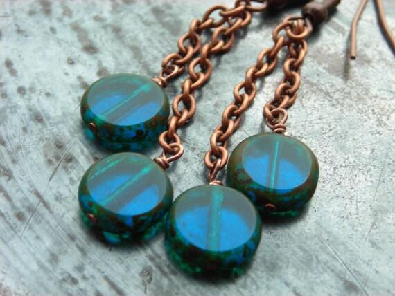 Blue Windows, Czech glass window coins on antiqued copper chain, long earrings