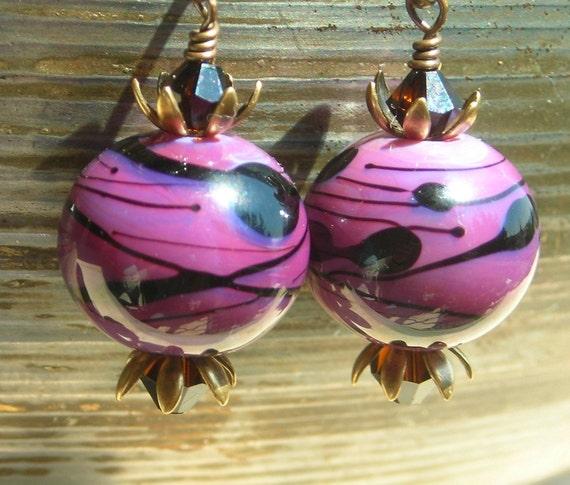 Purple dangle earrings, handmade artist lampwork beads, mocca Swarovski crystals, and antiqued brass petals, berry fruity earrings