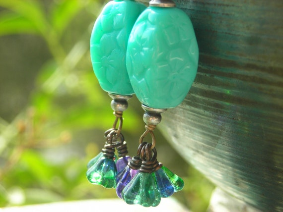 Seafoam Florals dangle earrings for women Czech glass flowers antiqued silver and brass retro Victorian vintage style mint blue green purple