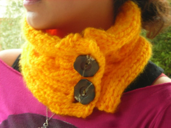 Yellow cowl scarf with button gaiter canary yellow cowl scarflette chunky warm winter knit vegan yarn flower neck warmer cable bulky acrylic
