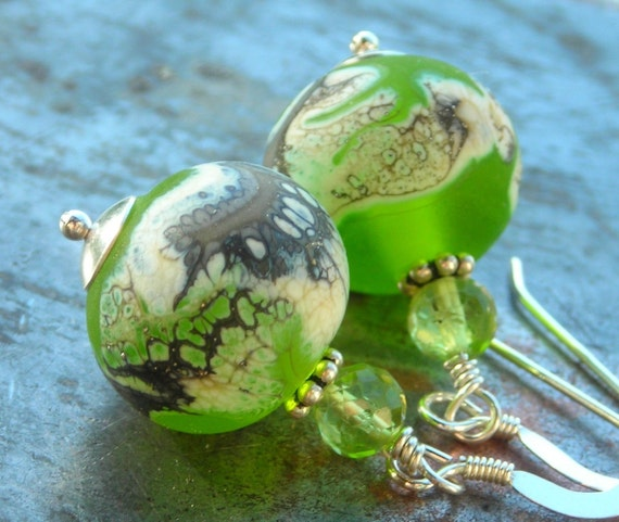 Green Planets, natural faceted peridot gemstones, organic handmade artist lampwork beads, sterling silver earrings