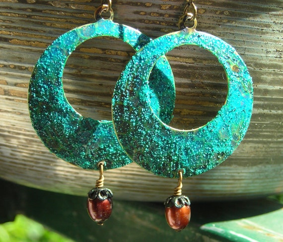 Pirate Coins hoop earrings distressed turquoise blue green verdigris patina rustic aged brass mixed media antiquity ocean sea treasure chest