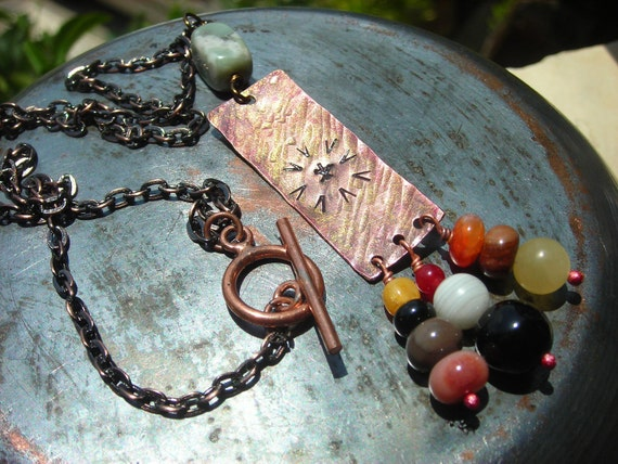 Copper necklace men women Around the Fire hammered tribal copper red agate peace stone rainbow black onyx jade primitive ancient metal art
