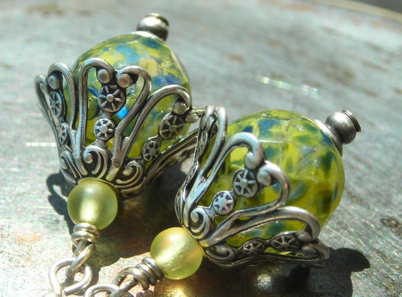 Fresh Lime Filigree, faerie hat earrings, Czech glass beads, antiqued silver petals, floral, yellow, inspired by nature, fairy