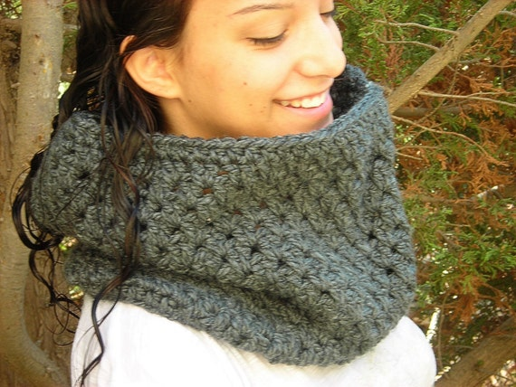 20% OFF Crochet cowl scarf gray Bulky Grey vegan charcoal warm winter neck warmer country rustic thick yarn men women simple large country