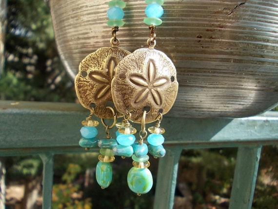 Long sand dollar earrings, antiqued brass sanddollar, seafoam blue green glass beads, ocean themed sea shore beach hippie rustic luck aged