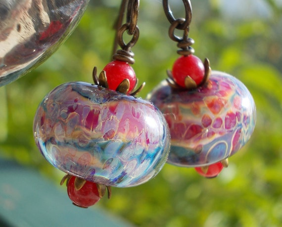 Caribbean summer beaded earrings, bright sunny artist lampwork beads, red agate gemstones, and solid oxidized brass colorful