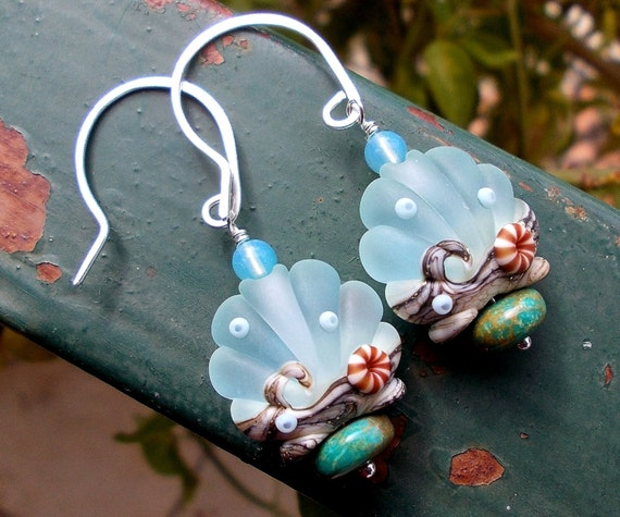 Sand and urchins silver earrings natural turquoise artist lampwork beads waves scallop ocean sea shell organic mermaid gemstones