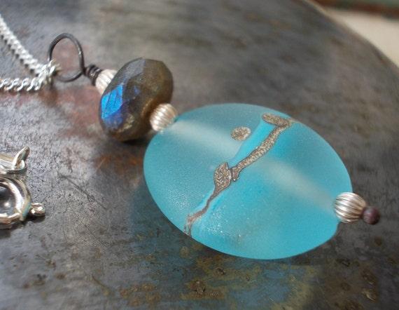 Sterling silver necklace natural labradorite and lampwork pendant cool aqua pastel sky blue flash labradorite gemstone 925 bohemian reiki