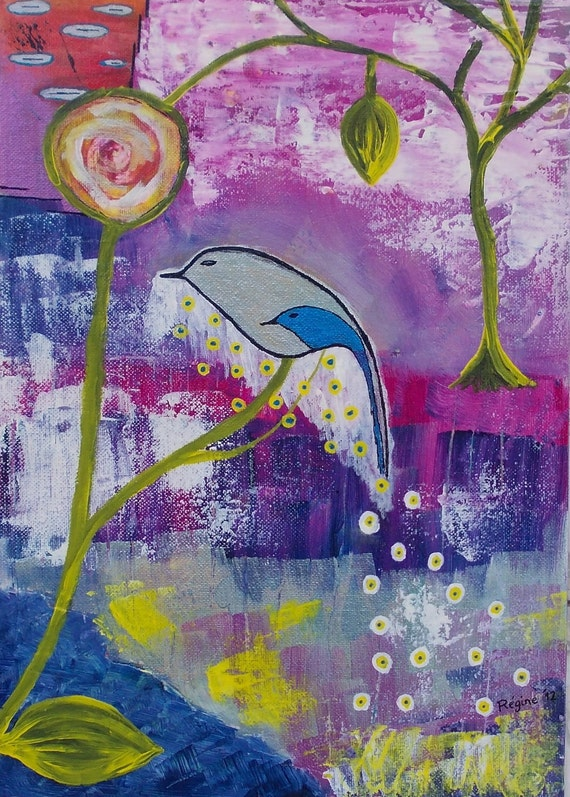 Bird and Tree painting Mother and Child, Mixed Media ORIGINAL, Linked Souls, acrylic modern painting drawing flower leaf  purple pink green