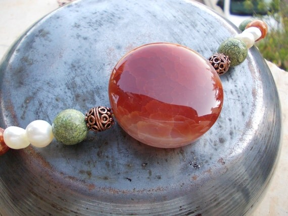 Huge red fire agate focal necklace, Copper and gemstone necklace, shell, fresh water pearl, fire agate and natural rhyolite stone bead fish