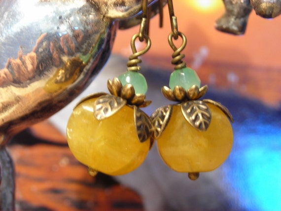 LAST DAY SALE, Golden Jade Lantern and Green Opal gemstone and brass leaf berry earrings