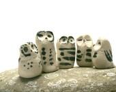 Five Gorgeous Raw Porcelain Owls - Set 1