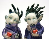 The Lovers - a strange pair in purple - porcelain figurine