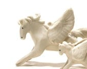 pegasus figurine - child of the clouds - porcelain animal miniature