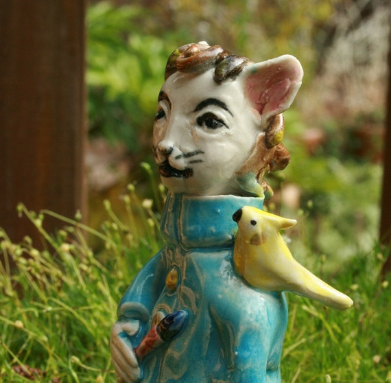 Cat Lady with Cockatiel and Paint Brush - Portrait of the Artist as a monster - figurine curio sculpture