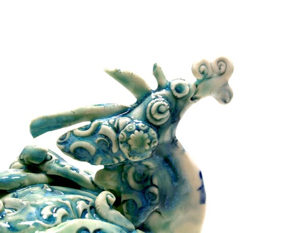 dragon figurine, Puff the Damask Dragon, blue dragon of spring