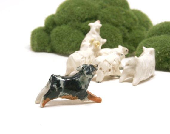 dog and sheep figurines - australian shepherd and sheep herd - porcelain miniatures