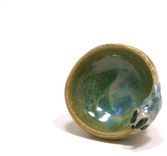 Trinket bowl - Wee Badger bowl- miniature ceramic bowl