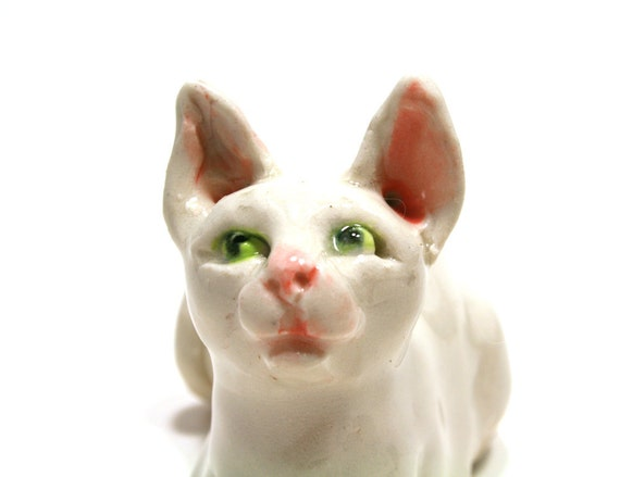 cat figurine - white as the moon, wise as the rhyme - porcelain figurine