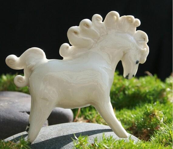 horse figurine - White horse of the green hills - porcelain animal