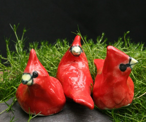 cardinal figurines - three larger birds - discount, sale, clearance