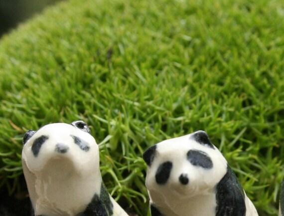 panda figurines - four little pandas - porcelain animal miniatures