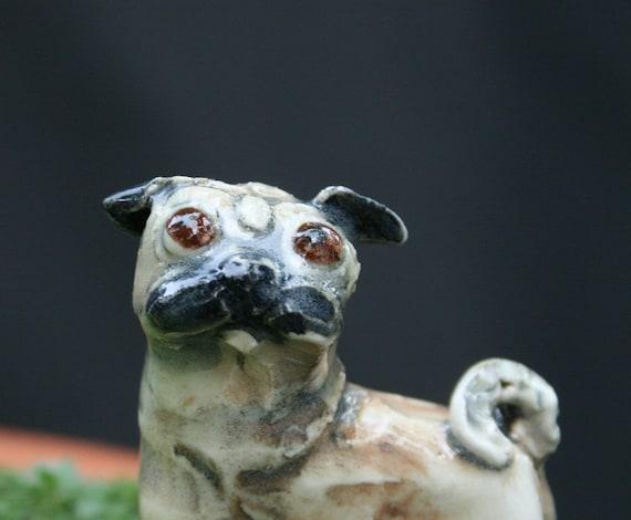 pug sculpture miniature mops playful terrarium figurine