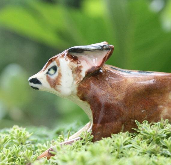 fox figurine - fox on the run -  porcelain animal figurine