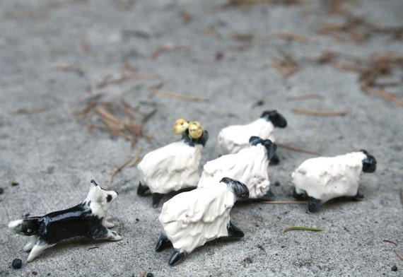 border collie and sheep - dog figurine  porcelain animal figurine