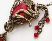 Red Dragon Necklace Mythical Gryphon or Griffin Creature Jewelry, MADE TO ORDER Upon purchase