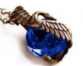 Swan Lake, Swan necklace with rare cobalt blue antique glass jewel, Art Deco style jewelry