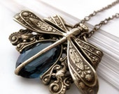 Dragonfly necklace, sapphire blue Victorian style vintage filigree jewelry