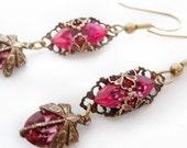 Dragonfly Earrings, Victorian filigree earrings in pink,  dangle earrings, vintage filigree  jewelry, drop earrings