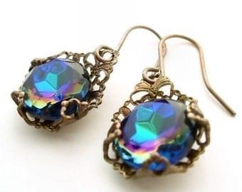La Dolce Vita Filigree Earrings Art Deco style dangle earrings - vintage filigree jewelry, blue green drop earrings, Great Gatsby style