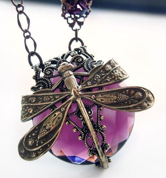 La Belle Epoque Dragonfly necklace, dragonfly jewelry, filigree jewellery, statement necklace, Victorian, fantasy jewelry, amethyst purple